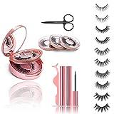 Magnetische Wimpern Magnetic Eyeliner Natural Look 3D Künstliche Magnet Wimpern Wiederverwendbare, 2 Tubes of 5ML Wasserdicht Magnetischer Eyeliner, Ideal für Geschenk 5 Paare