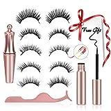 Magnetische Wimpern - 5 Paar Natürlich Magnetische Wimpern mit Eyeliner, 3D Magnetische Falsche Wimpern mit 1 Pinzette, Wiederverwendbar Magnetic Eyelashes, Kein Kleber Erforderlich