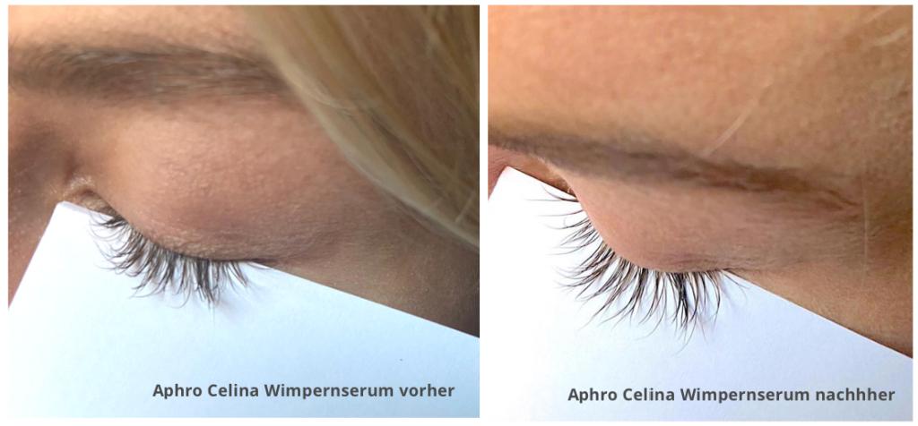 Aphro Celina Wimpernserum Test vorher/nachher