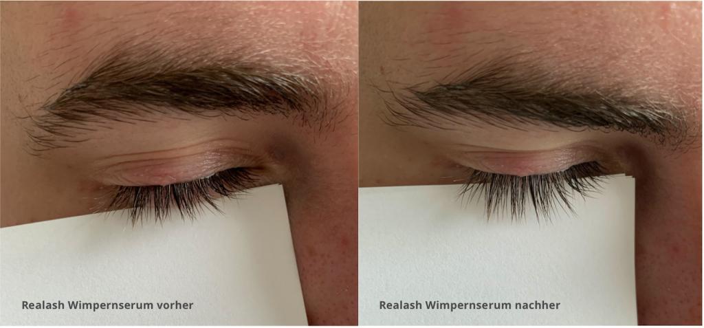 ORPHICA Realash Wimpernserum Test vorher/nachher